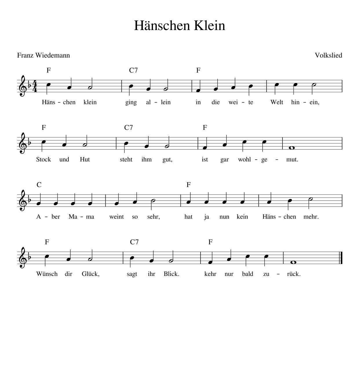 Weihnachtslieder Noten Für Glockenspiel.Hänschen Klein Ging Allein Kinderlieder Noten Text