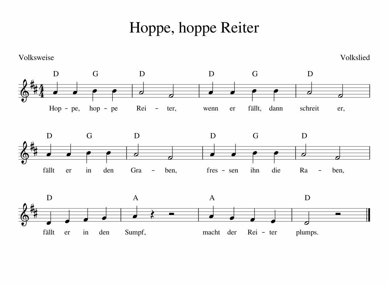 Hoppe, hoppe Reiter NOTEN