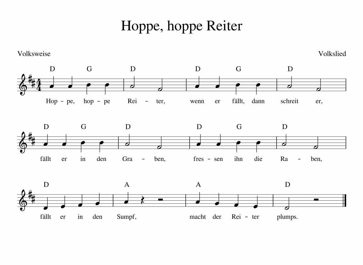 Text Hoppe Hoppe Reiter