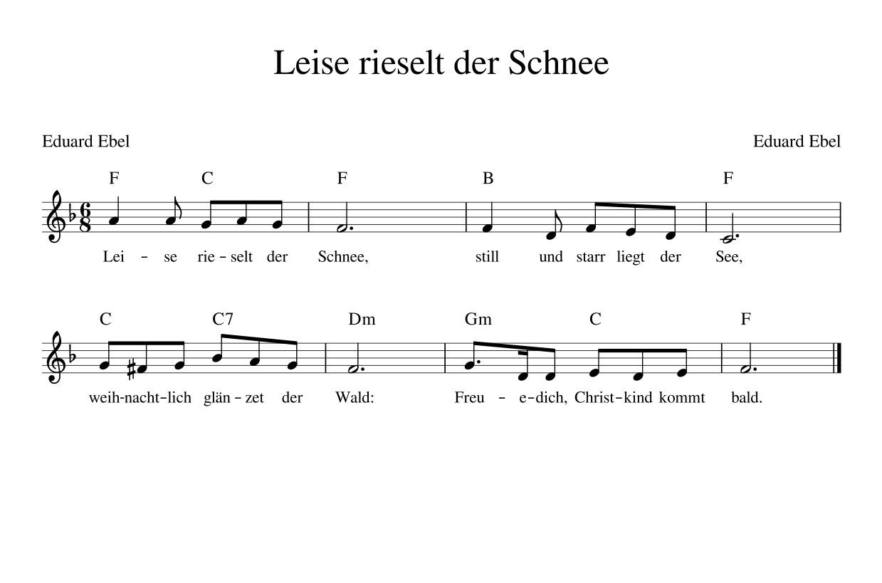 Texte Weihnachtslieder Zum Ausdrucken.Leise Rieselt Der Schnee Kinderlieder Noten Text