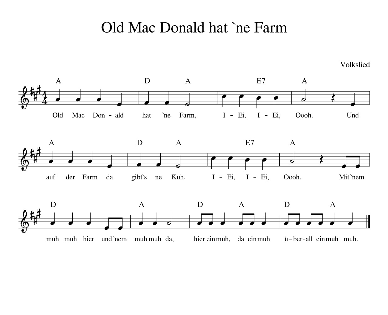 Old Mac Donald hat `ne Farm