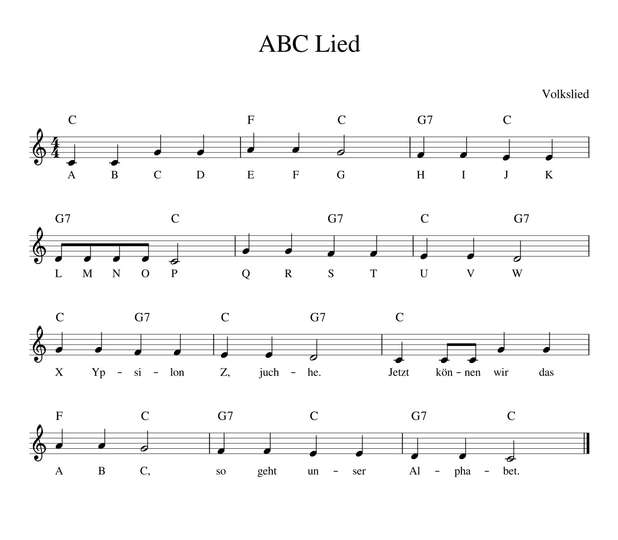 Das ABC Lied - Kinderlieder - Noten - Text - Kinderlieder zum ...