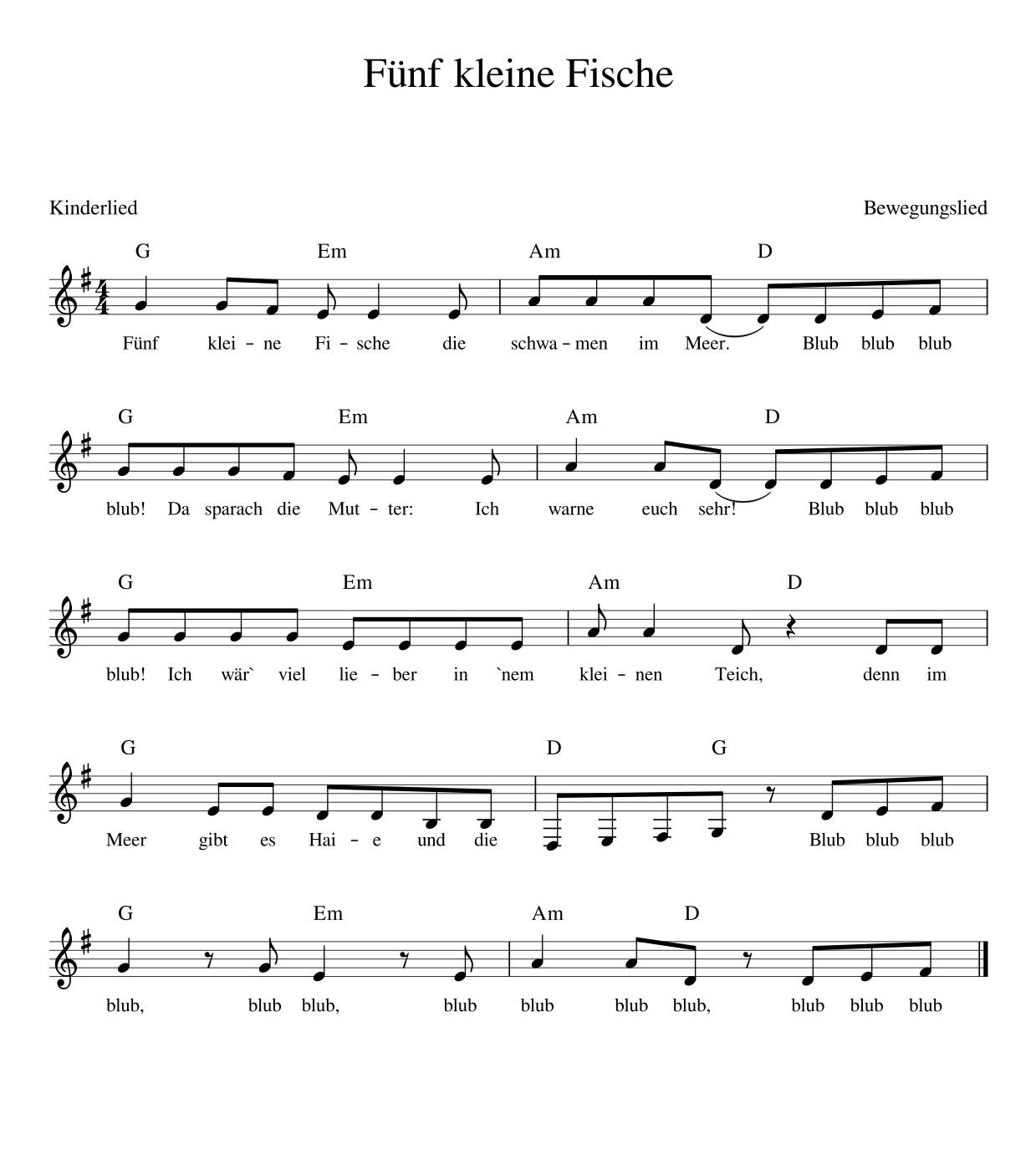 Fünf kleine Fische - Kinderlieder - Noten - Text - Kinderlieder zum ...