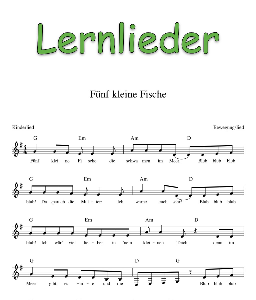 Kinderlieder mit Noten - Kinderlieder - Noten - Text ...